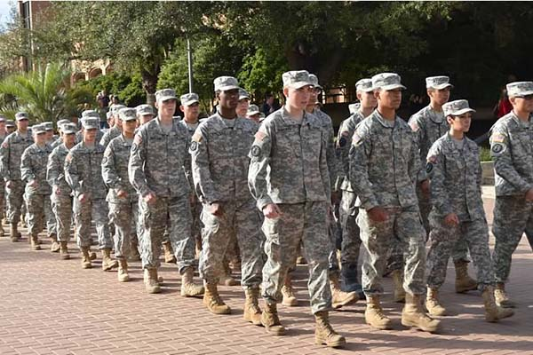 ROTC students marching